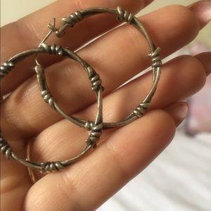 1613436d209b2e souvenir jewelry Jewelry | Sterling Silver Barbed Wire Hoop Earrings ...